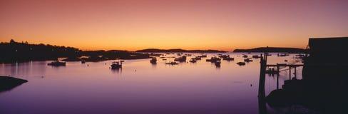 Villaggio dell'aragosta ad alba Fotografie Stock Libere da Diritti
