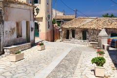 Villaggio dell'isola di Corfù fotografia stock libera da diritti