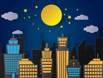 Villaggio della città del paesaggio con la luna piena ed urbano Arte di carta Fotografie Stock