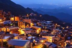 Villaggio della palude di Jiu alla notte immagine stock libera da diritti