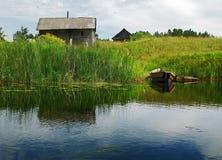 Villaggio della riva del fiume Fotografia Stock