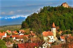Villaggio della vista di Cisnadioara Fotografia Stock