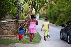 Villaggio delle Seychelles Fotografia Stock