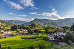 Villaggio di agricoltura in Takachiho, Miyazaki, Kyushu fotografia stock libera da diritti