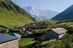 Villaggio di alta montagna Ushguli in Svaneti, Georgia Fotografia Stock Libera da Diritti