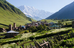 Villaggio di alta montagna Ushguli in Svaneti, Georgia Immagine Stock Libera da Diritti
