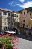 Villaggio di Apricale, Liguria, Italia Il quadrato centrale Fotografie Stock