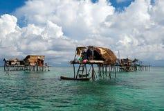 Villaggio di Bajau Laut in Semporna Sabah Borneo Fotografia Stock Libera da Diritti