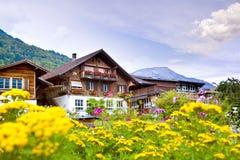 Villaggio di Brienz in Svizzera Fotografie Stock Libere da Diritti