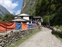 Villaggio di Chame, Nepal Fotografie Stock