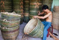 Villaggio di commercio dell'Asia al delta del Mekong Immagini Stock Libere da Diritti
