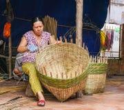 Villaggio di commercio dell'Asia al delta del Mekong Immagini Stock