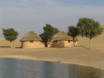 Villaggio di deserto, Ragiastan, India Immagini Stock