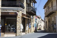 Villaggio di fama mondiale Pano Lefkara, Cipro, Europa della montagna Fotografia Stock Libera da Diritti