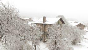 Villaggio di favola di inverno della Francia montblanc delle alpi della neve Immagine Stock