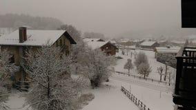 Villaggio di favola di inverno della Francia montblanc delle alpi della neve Immagini Stock