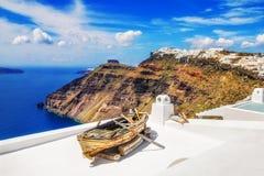 Villaggio di Fira sull'isola di Santorini Fotografia Stock