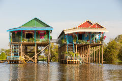 Villaggio di galleggiamento di Phluk del Kampong Fotografia Stock Libera da Diritti