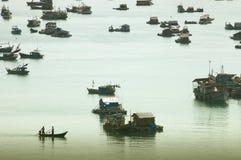 Villaggio di galleggiamento nel delta del Mekong Fotografia Stock
