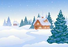 Villaggio di giorno di inverno Immagini Stock Libere da Diritti
