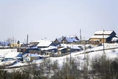 Villaggio di inverno Fotografia Stock Libera da Diritti