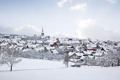Villaggio di inverno Fotografia Stock