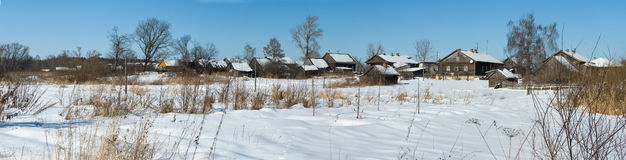 Villaggio di inverno Immagini Stock Libere da Diritti