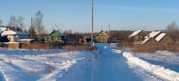 Villaggio di inverno Fotografie Stock Libere da Diritti
