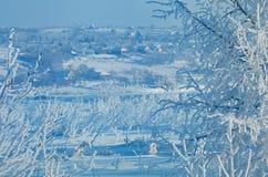 Villaggio di inverno Immagini Stock