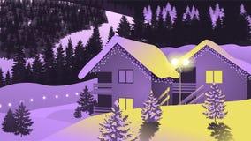 Villaggio di inverno del fondo di vettore immagini stock