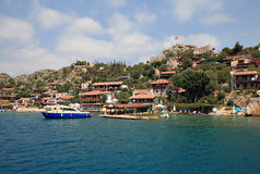 Villaggio di Kalekoy sull'isola turca di Kekova Immagine Stock Libera da Diritti