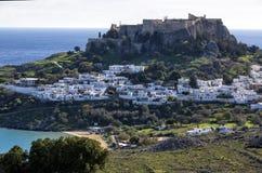 Villaggio di Lindos, Rodi, Grecia Immagini Stock Libere da Diritti