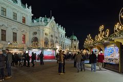 Villaggio di Natale del palazzo di belvedere a Vienna, Austria Immagini Stock Libere da Diritti