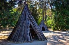 Villaggio di Nisenan - Marshall Gold Discovery Center - Sacramento, C fotografia stock