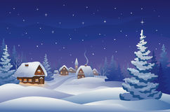 Villaggio di notte di Natale Fotografia Stock