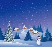 Villaggio di notte di Natale di Snowy illustrazione di stock
