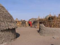 Villaggio di Nuba nel Sudan Fotografia Stock Libera da Diritti