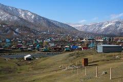 Villaggio di Onguday nelle montagne della Repubblica di Altai, Immagine Stock