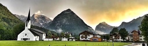 Villaggio di Pertisau alle alpi nel Tirolo, Austria Immagine Stock Libera da Diritti