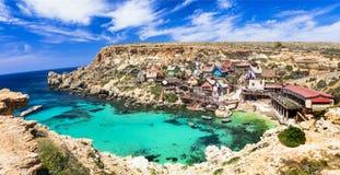 Villaggio di Popeye a Malta Immagini Stock Libere da Diritti