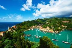 Villaggio di Portofino sulla costa ligura, Italia Immagine Stock Libera da Diritti
