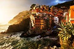 Villaggio di Riomaggiore, Cinque Terre, Italia Immagine Stock Libera da Diritti