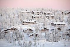 Villaggio di Ruka, inverno Finlandia Fotografie Stock Libere da Diritti