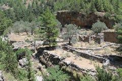 Villaggio di Samaria nella gola di samaria Immagine Stock