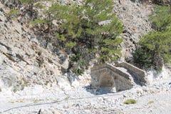Villaggio di Samaria nella gola di samaria Fotografia Stock