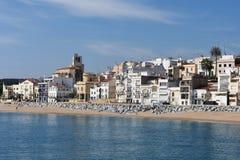 Villaggio di Sant Pol de Mar nella provincia di Barcellona, Catalogna, stazione termale fotografia stock libera da diritti