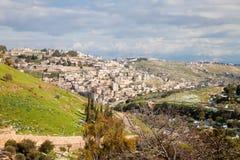 Villaggio di Silwan e Kidron Valley nell'inverno Fotografie Stock