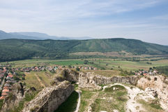 Villaggio di Sirok dalla sua fortificazione Immagini Stock Libere da Diritti