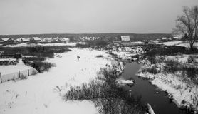 Villaggio di Snowy Fotografie Stock