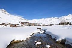 Villaggio di Tignes nell'inverno Immagine Stock Libera da Diritti